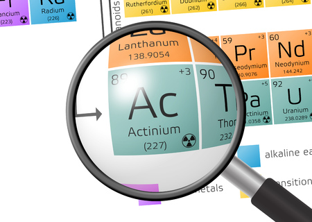 actinides: Actinium from Periodic Table of the Elements with magnifying glass