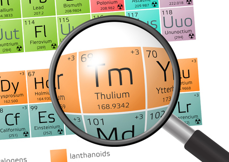 oxidation: Thulium from Periodic Table of the Elements with magnifying glass