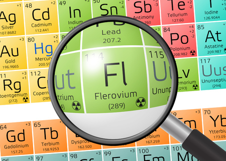 Flerovium from Periodic Table of the Elements with magnifying glass