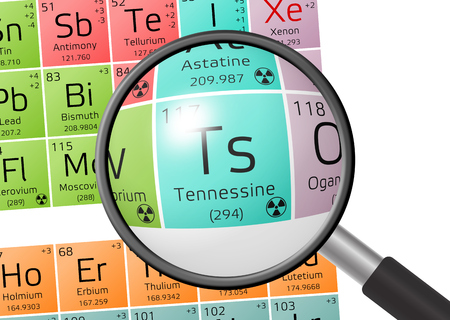 actinides: Tennessine from Periodic Table of the Elements with magnifying glass