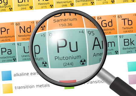 plutonium: Plutonium from Periodic Table of the Elements with magnifying glass