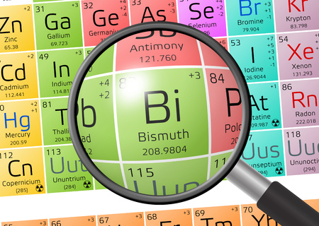 bismuth: Bismuth from Periodic Table of the Elements with magnifying glass