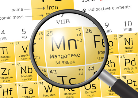 Manganese from Periodic Table of the Elements with magnifying glass