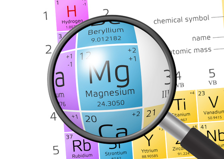 Magnesium uit periodiek systeem der elementen met vergrootglas Stockfoto
