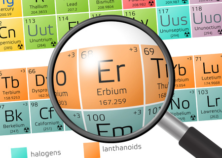 oxidation: Erbium from Periodic Table of the Elements with magnifying glass Stock Photo