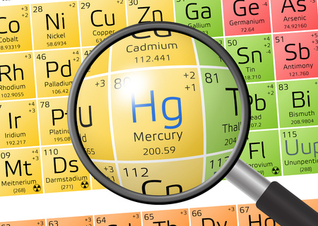 actinides: Hydragyrum or Mercury from Periodic Table of the Elements with magnifying glass Stock Photo