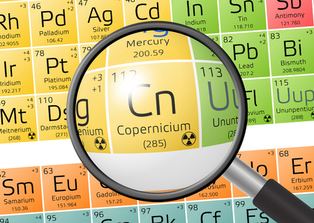 Copernicium from Periodic Table of the Elements with magnifying glass Stock Photo