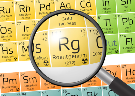 Roentgenium from Periodic Table of the Elements with magnifying glass