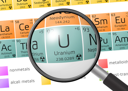uranium: Uranium from Periodic Table of the Elements with magnifying glass Stock Photo