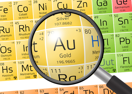 aurum: Aurum or Gold from Periodic Table of the Elements with magnifying glass