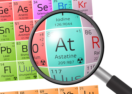 Astatine from Periodic Table of the Elements with magnifying glass