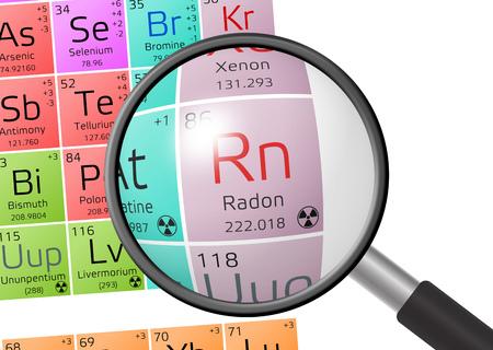 Radon aus Periodensystem der Elemente mit Lupe Standard-Bild - 73547747