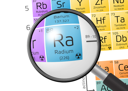 atomic symbol: Radium from Periodic Table of the Elements with magnifying glass
