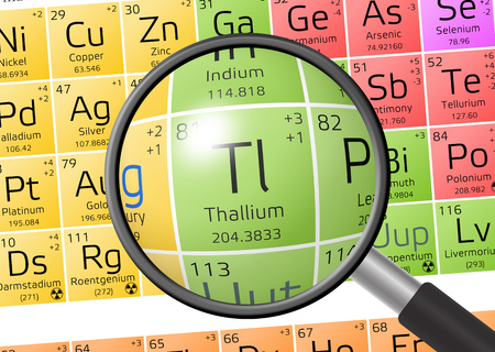 Thallium from Periodic Table of the Elements with magnifying glass Stock Photo