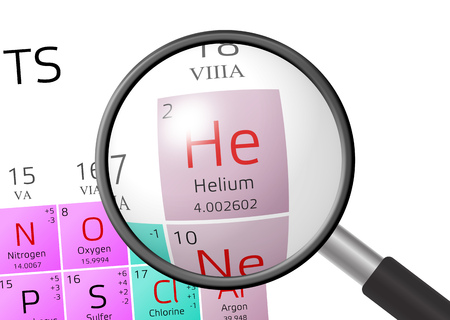 oxidation: Helium from Periodic Table of the Elements with magnifying glass Stock Photo