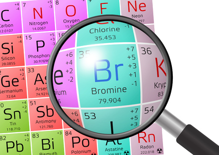 Bromine from Periodic Table of the Elements with magnifying glass