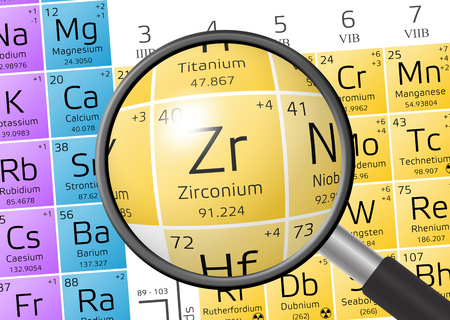 Zirconium from Periodic Table of the Elements with magnifying glass