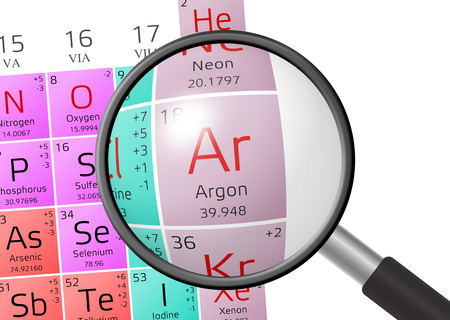 argon: Argon from Periodic Table of the Elements with magnifying glass