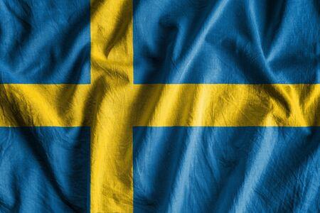Waving flag of Sweden. Stock Photo