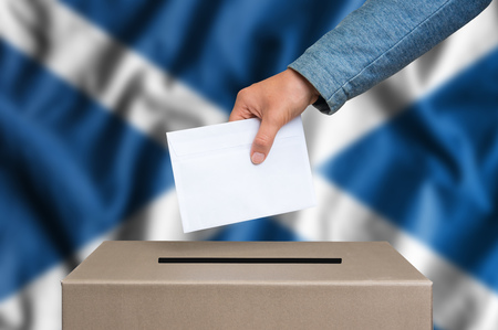 scottish parliament: Election in Scotland. The hand of woman putting her vote in the ballot box. Scottish flag on background.