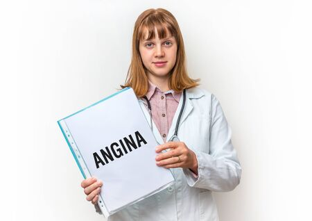 Female doctor showing medical clipboard with written text: Angina - isolated on white background Stock Photo