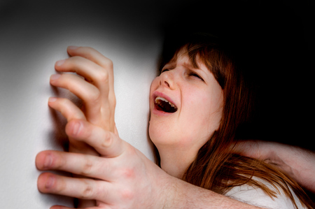 maltreatment: Husband attacking to a wife - domestic violence concept