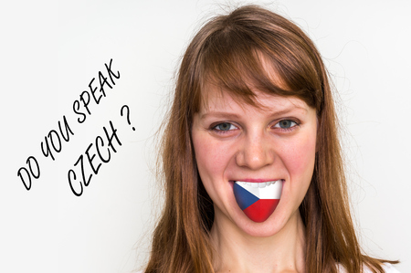 Do you speak Czech? Woman with flag on the tongue - isolated on white background