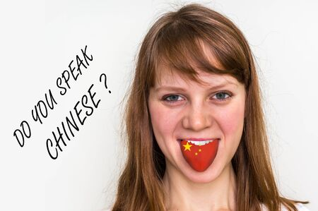 Do you speak Chinese? Woman with flag on the tongue - isolated on white background