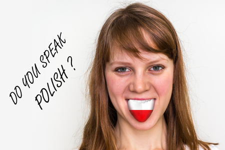 bilingual: Do you speak Polish? Woman with flag on the tongue - isolated on white background
