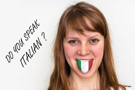 Do you speak Italian? Woman with flag on the tongue - isolated on white background