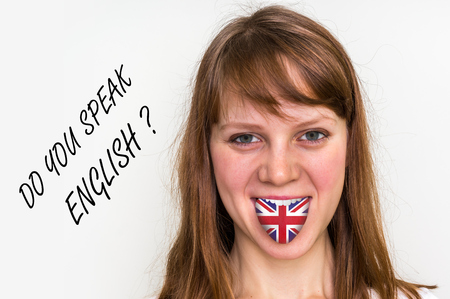 Do you speak English? Woman with flag on the tongue - isolated on white background