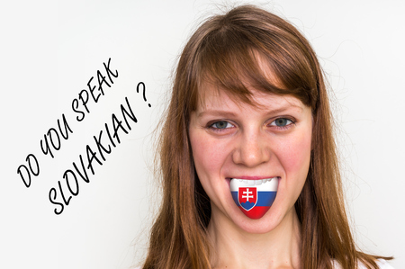 bilingual: Do you speak Slovakian? Woman with flag on the tongue - isolated on white background