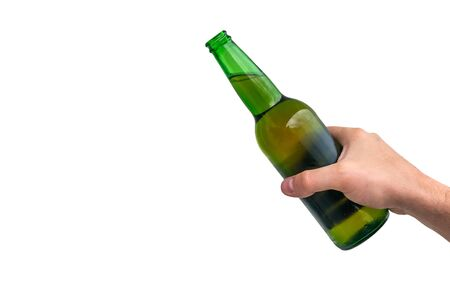 Man holding a bottle of beer on white background