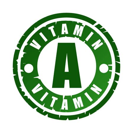 Green round rubber stamp with vitamin A