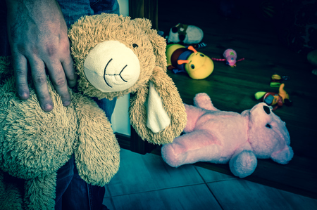 Pedophile with cuddly toy trying to steal child - kidnapping concept - retro style
