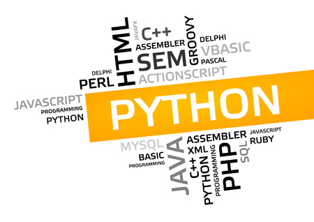 PYTHON word cloud, tag cloud, vector graphic - programming concept Stock Photo - 74521533