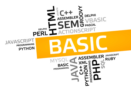 BASIC word cloud, tag cloud, vector graphic - programming concept