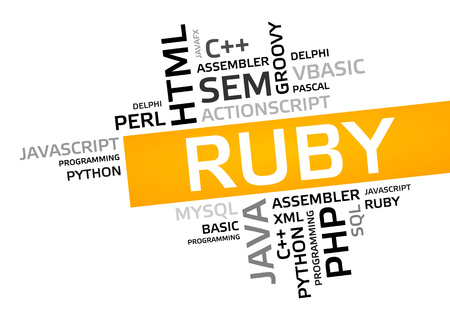 RUBY word cloud, tag cloud, vector graphic - programming concept