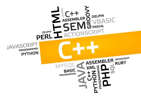C++ word cloud, tag cloud, vector graphic - programming concept Stock Photo - 74521496