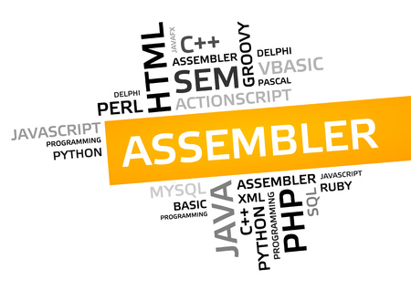 ASSEMBLER word cloud, tag cloud, vector graphic - programming concept Stock Photo
