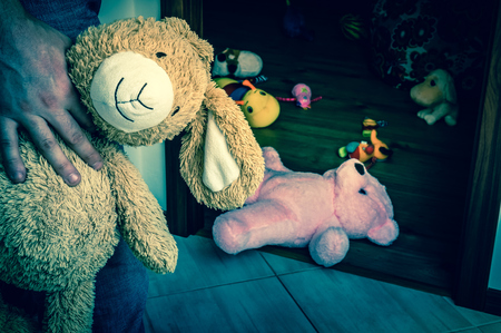 pedophilia: Pedophile with cuddly toy trying to steal child - kidnapping concept - retro style