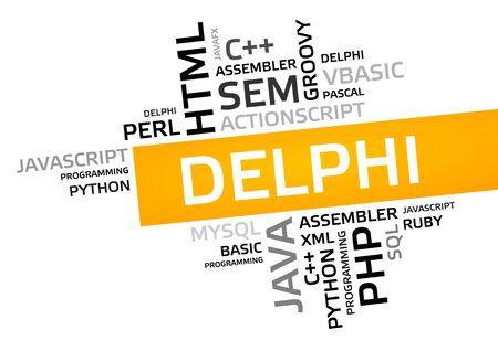 DELPHI word cloud, tag cloud, vector graphic - programming concept