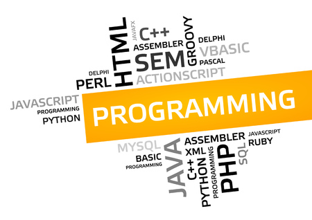 PROGRAMMING word cloud, tag cloud, vector graphic - programming concept