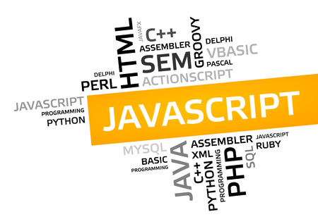 JAVASCRIPT word cloud, tag cloud, vector graphic - programming concept