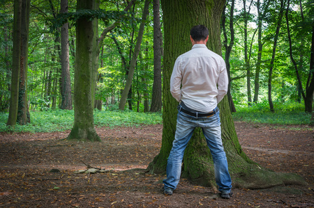 genital: Standing man peeing near big tree in summer forest in nature - incontinence concept Stock Photo