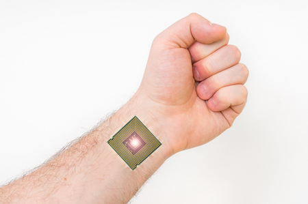 Bionic microchip inside human body - future technology and cybernetics concept Stock Photo