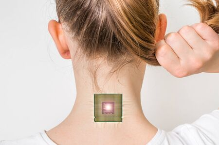 Bionic microchip inside female human body - future technology and cybernetics concept