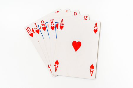 Playing cards isolated on white background - casino gambling concept