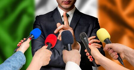 Irish candidate speaks to reporters. Election in Ireland. Journalism and broadcasting concept. Stock Photo