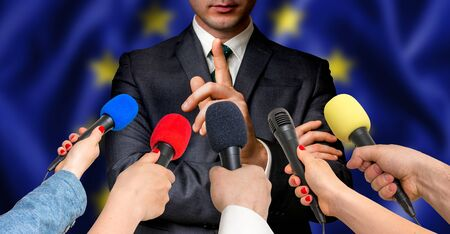 premier: European candidate speaks to reporters. Election in European Union (EU). Journalism and broadcasting concept.